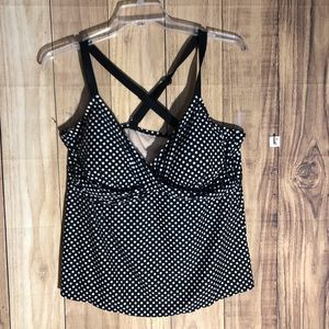 Ava & Viv plus size 20 swim top black white dots